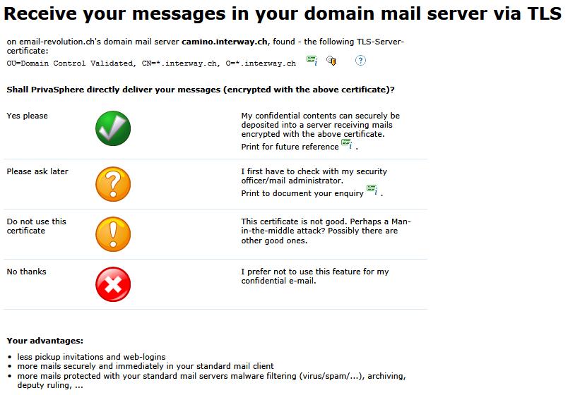 Privasphere Mailprogram Integration