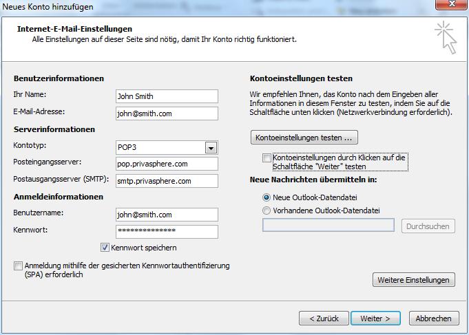 PrivaSphere - Mailprogram Integration